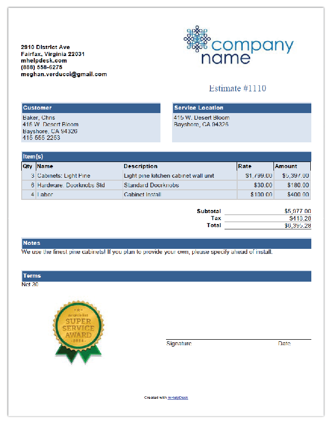Pool Cleaning Free Invoice Template From Mhelpdesk